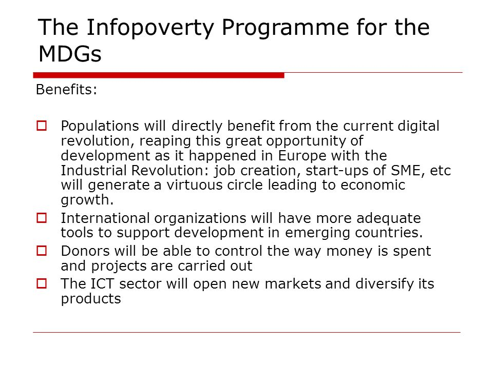 The Infopoverty Programme for the MDGs