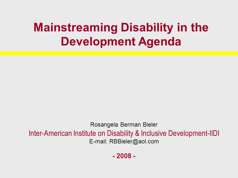 Mainstreaming Disability in the Development Agenda