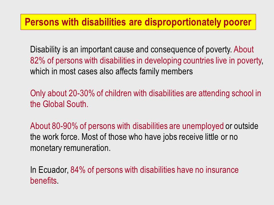 Persons with disabilities are disproportionately poorer