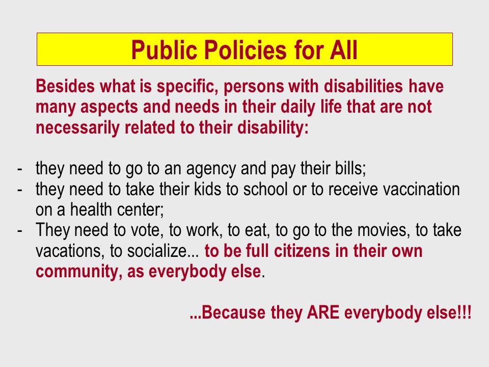 Public Policies for All