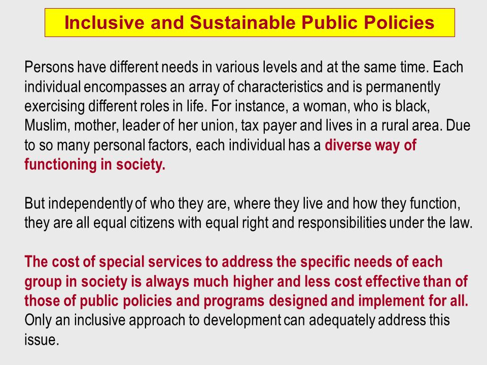 Inclusive and Sustainable Public Policies