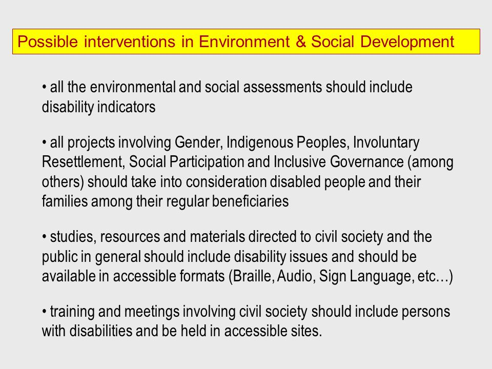Possible interventions in Environment & Social Development