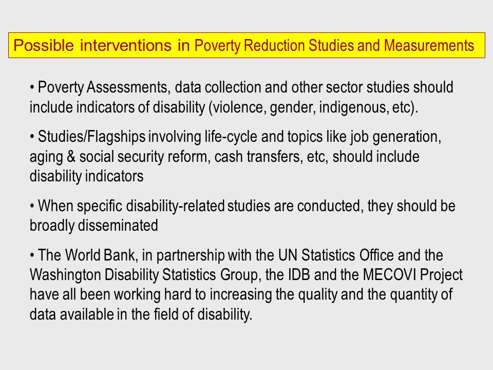 Possible interventions in Poverty Reduction Studies and Measurements