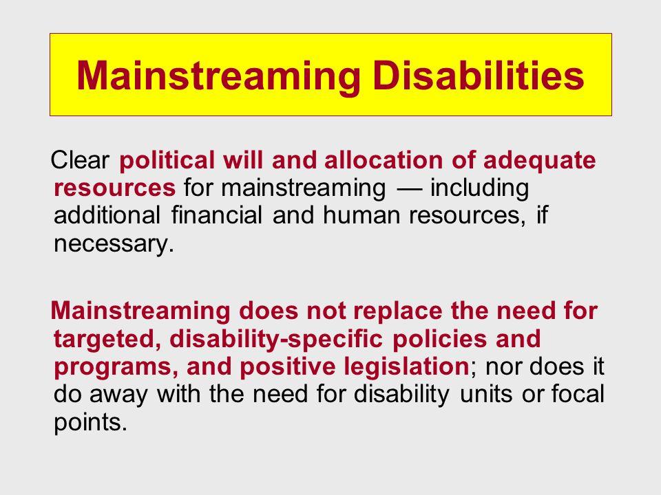 Mainstreaming Disabilities