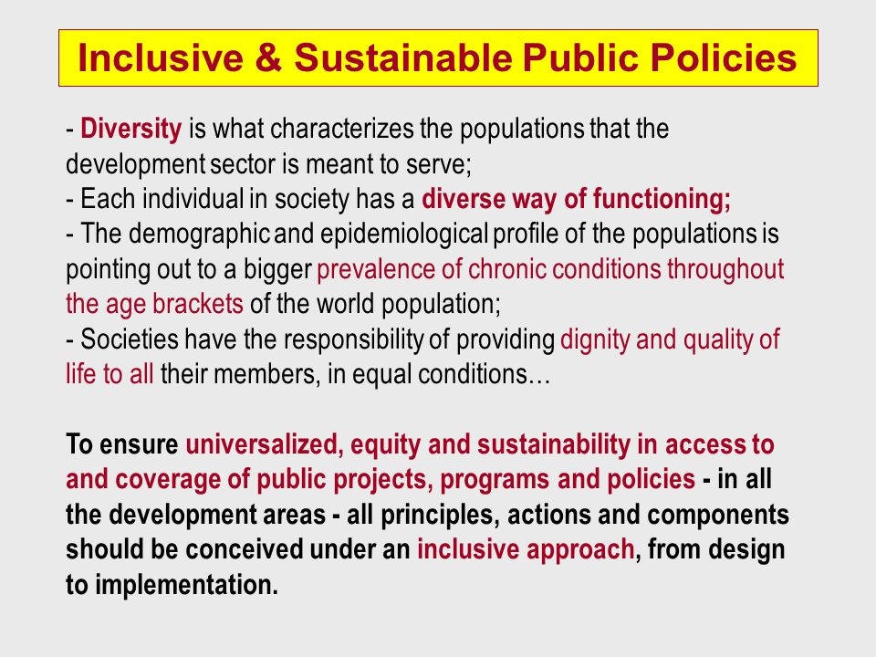 Inclusive & Sustainable Public Policies