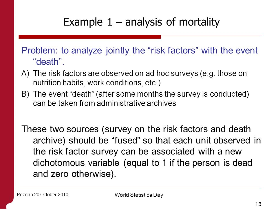 Example 1 – analysis of mortality