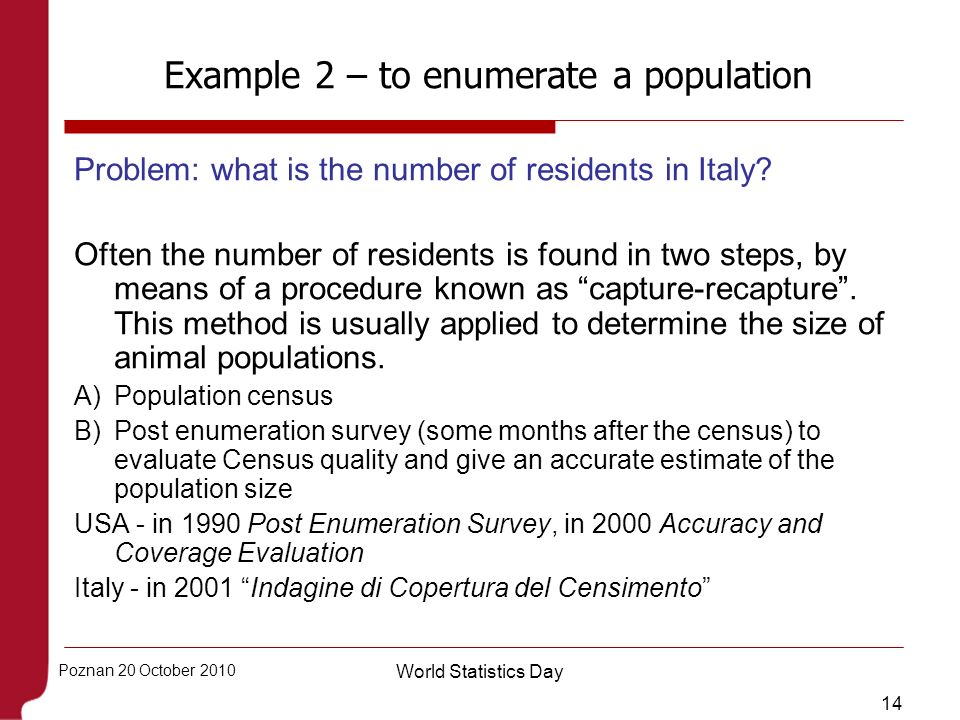 Example 2 – to enumerate a population