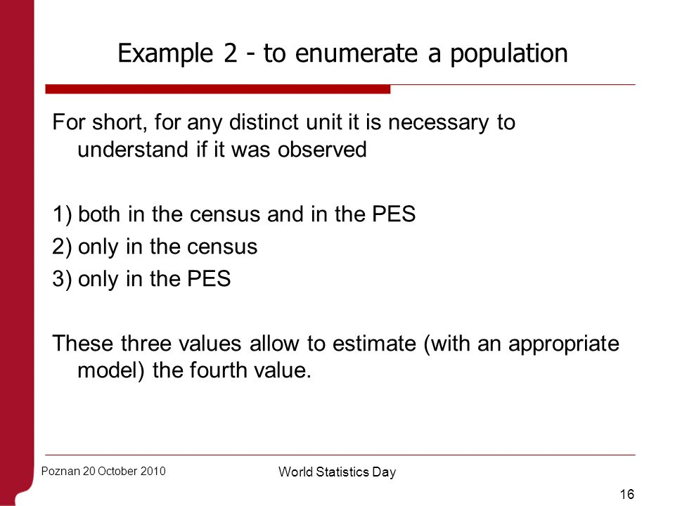 Example 2 - to enumerate a population