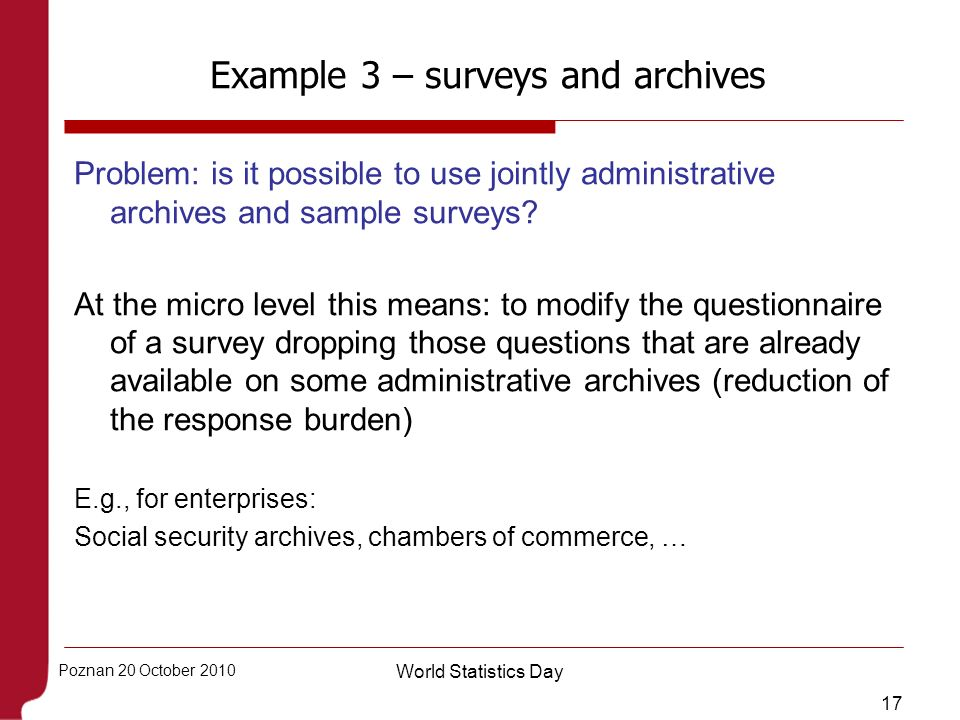 Example 3 – surveys and archives