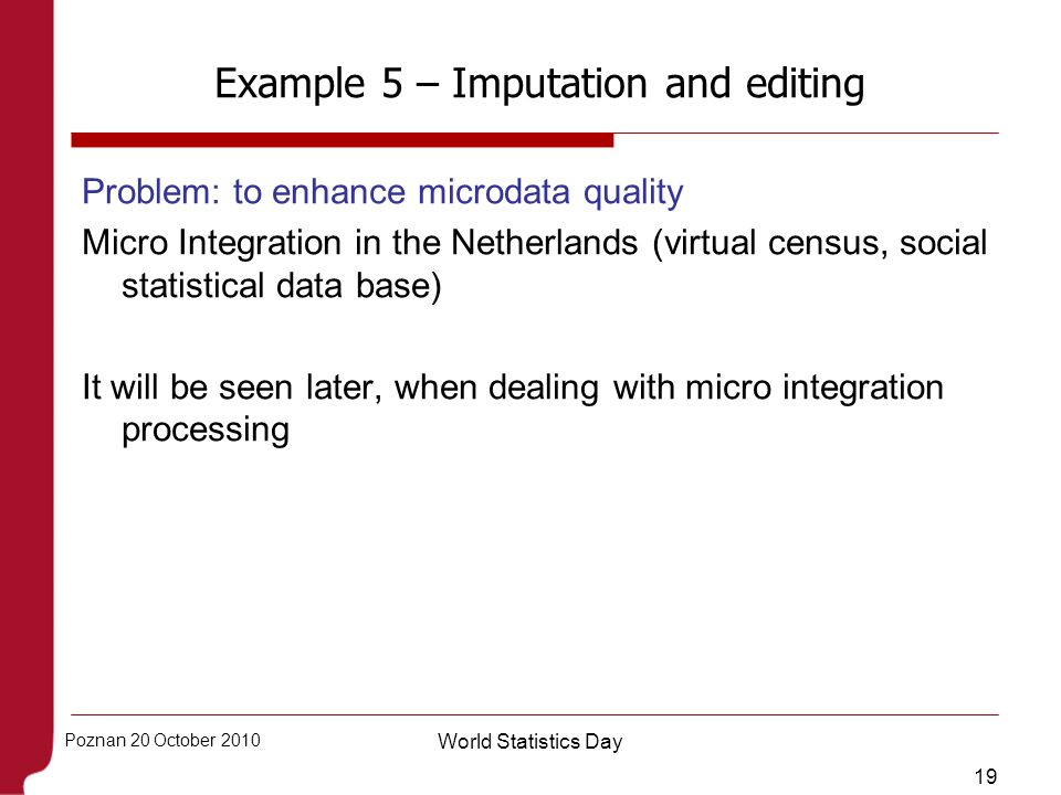 Example 5 – Imputation and editing