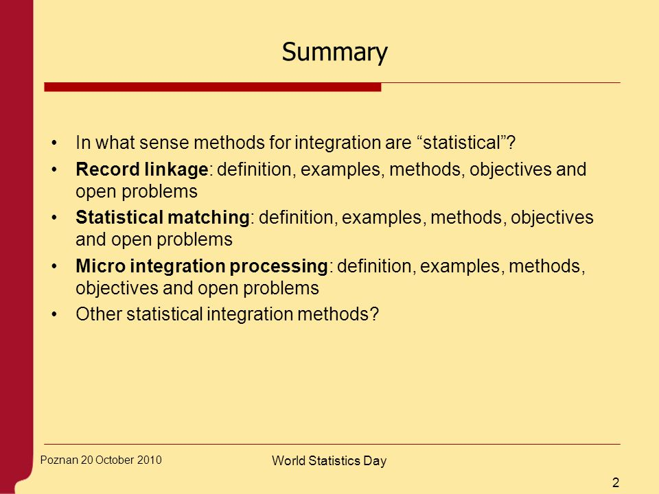 Summary In what sense methods for integration are statistical