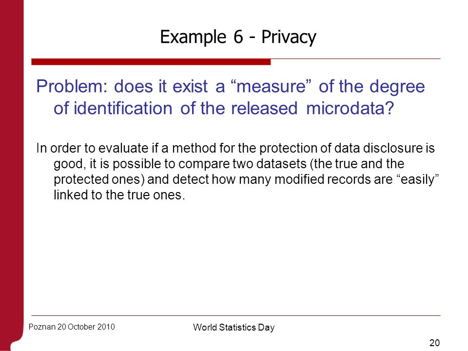 Example 6 - Privacy Problem: does it exist a measure of the degree of identification of the released microdata