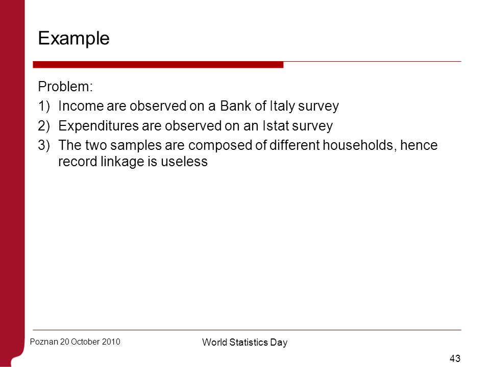 Example Problem: Income are observed on a Bank of Italy survey