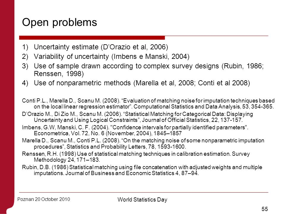 Open problems Uncertainty estimate (D'Orazio et al, 2006)