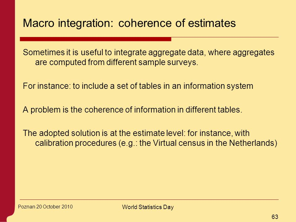Macro integration: coherence of estimates