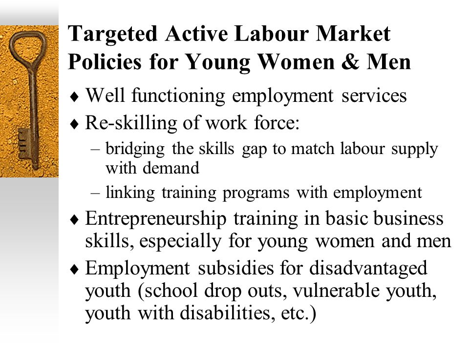 Targeted Active Labour Market Policies for Young Women & Men