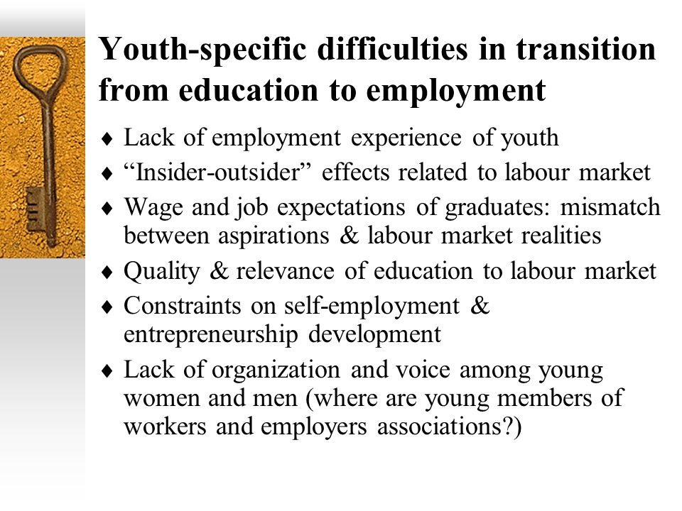 Youth-specific difficulties in transition from education to employment