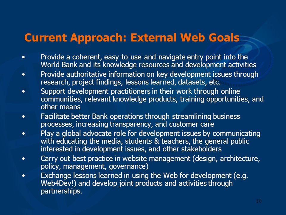 Current Approach: External Web Goals