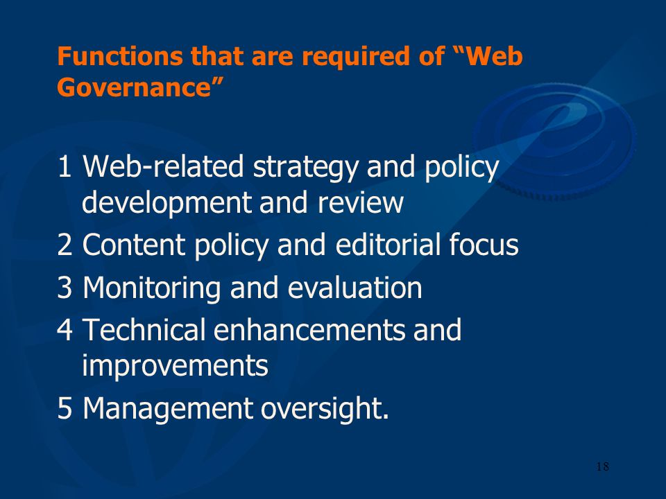 Functions that are required of Web Governance