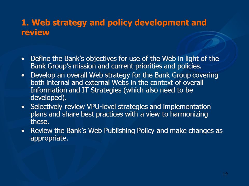 1. Web strategy and policy development and review