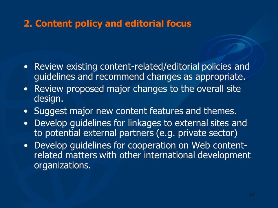 2. Content policy and editorial focus