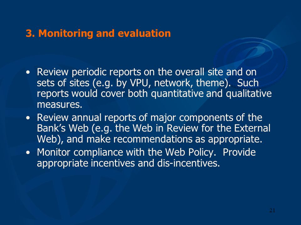 3. Monitoring and evaluation