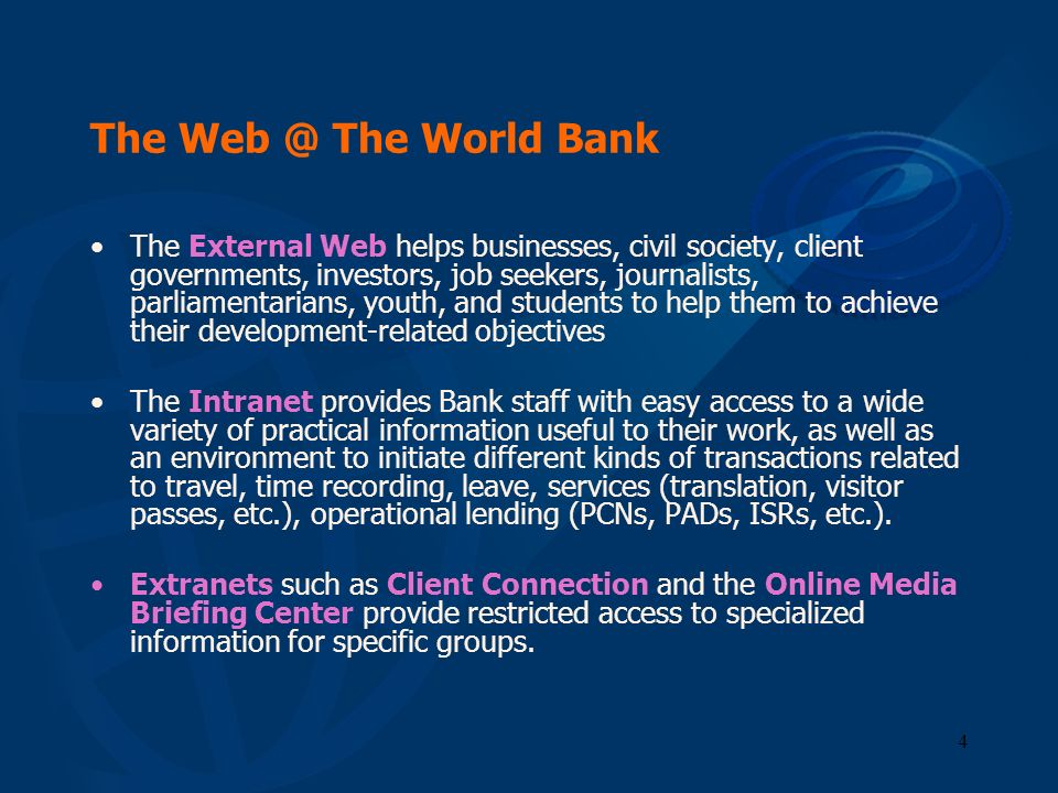 The Web @ The World Bank