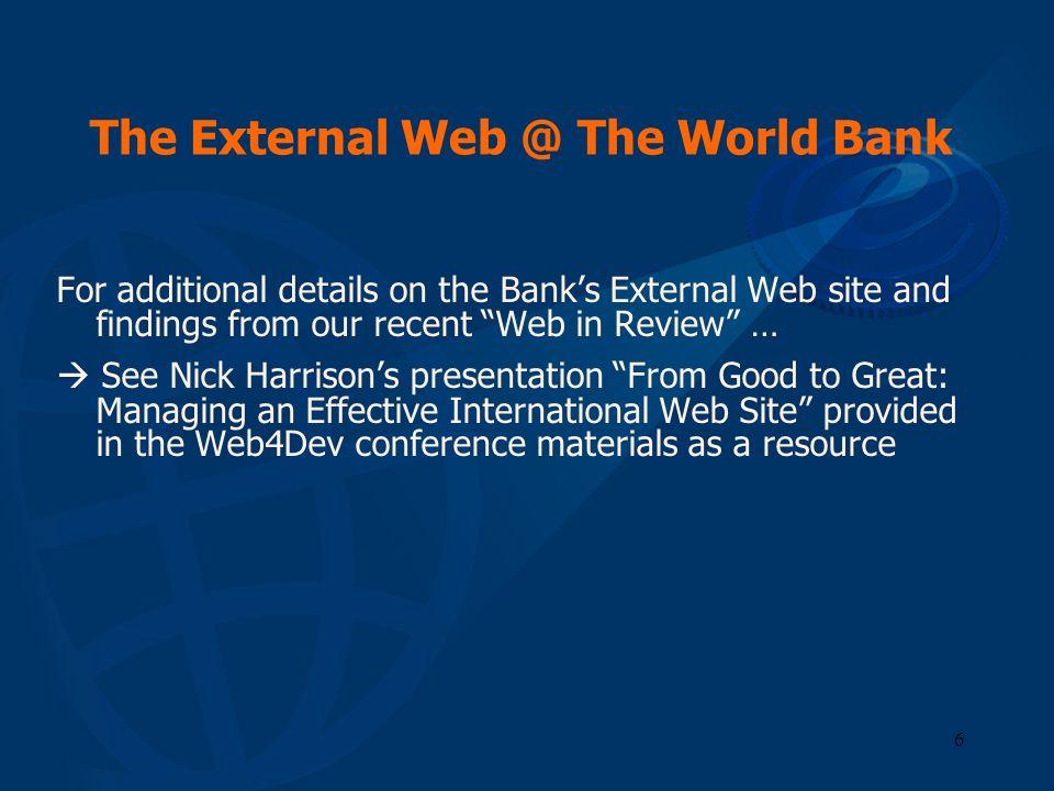 The External Web @ The World Bank