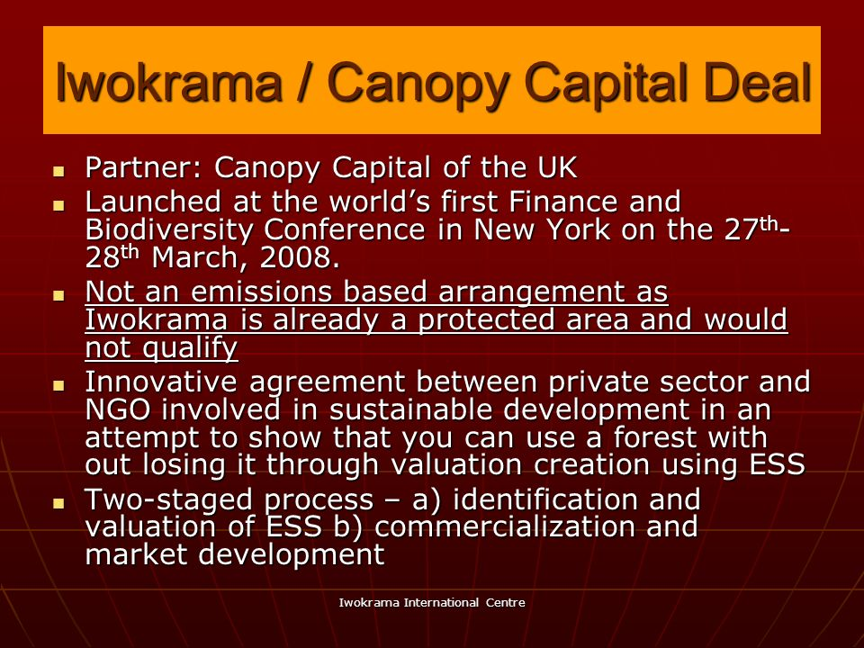 Iwokrama / Canopy Capital Deal