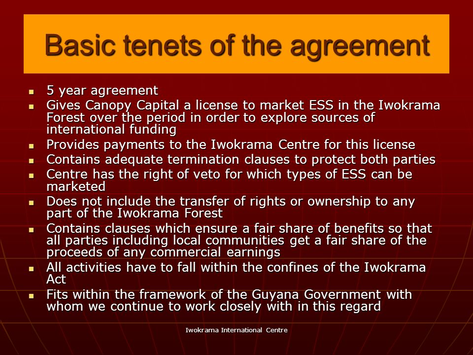 Basic tenets of the agreement