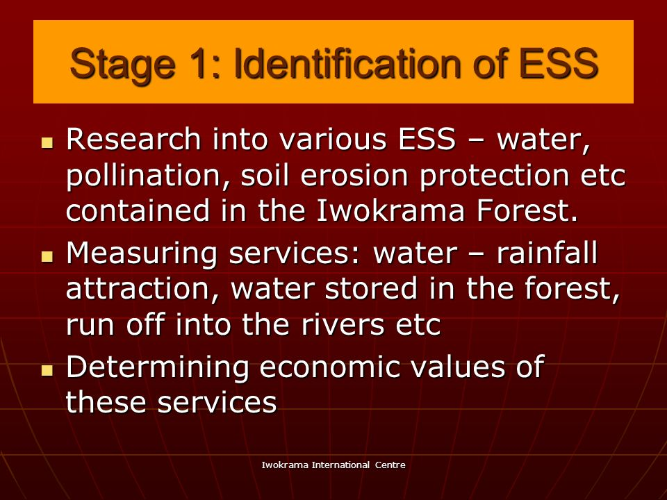 Stage 1: Identification of ESS