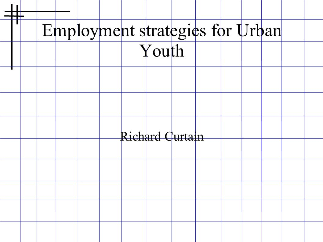 Employment strategies for Urban Youth
