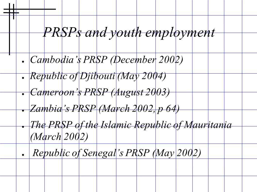 PRSPs and youth employment