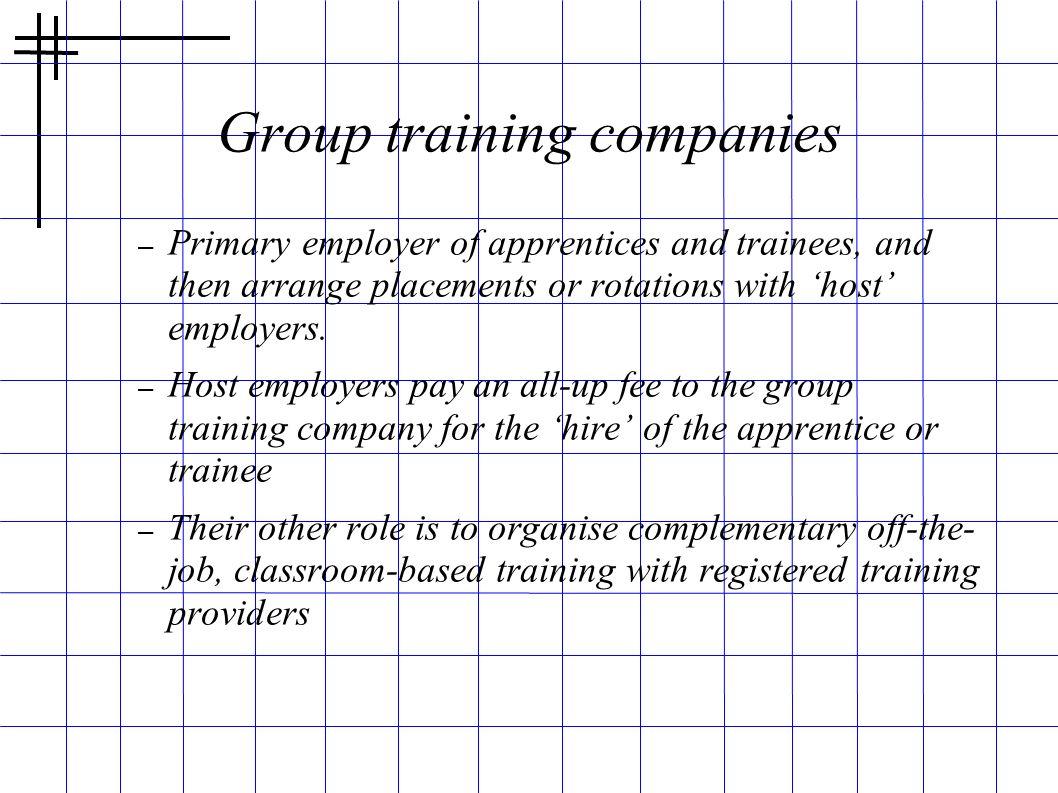 Group training companies