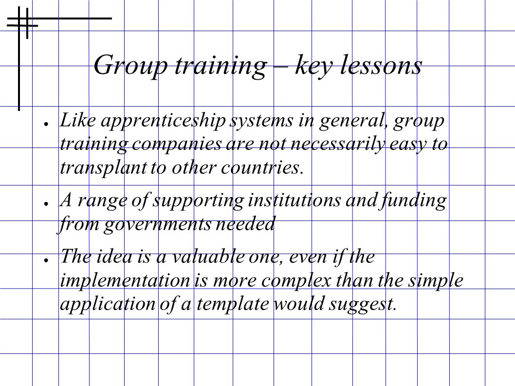 Group training – key lessons