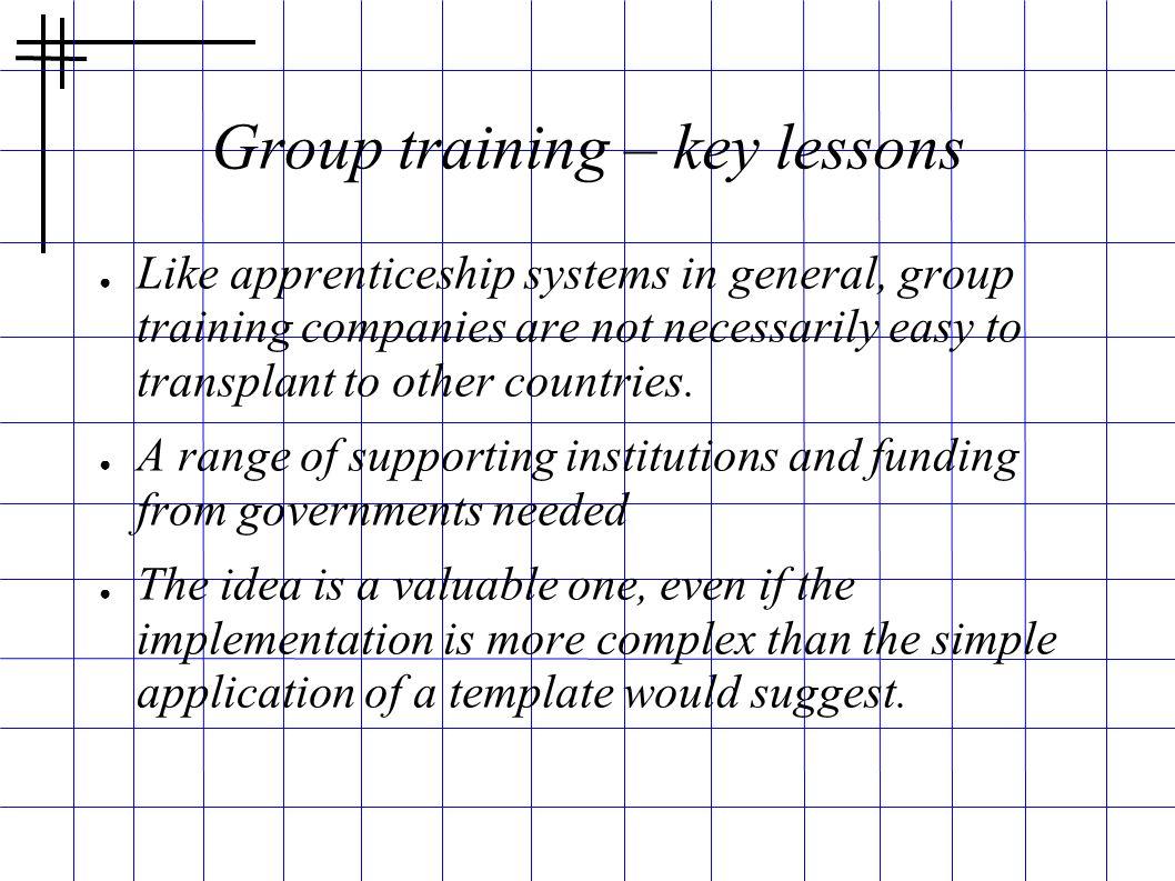 Group training – key lessons