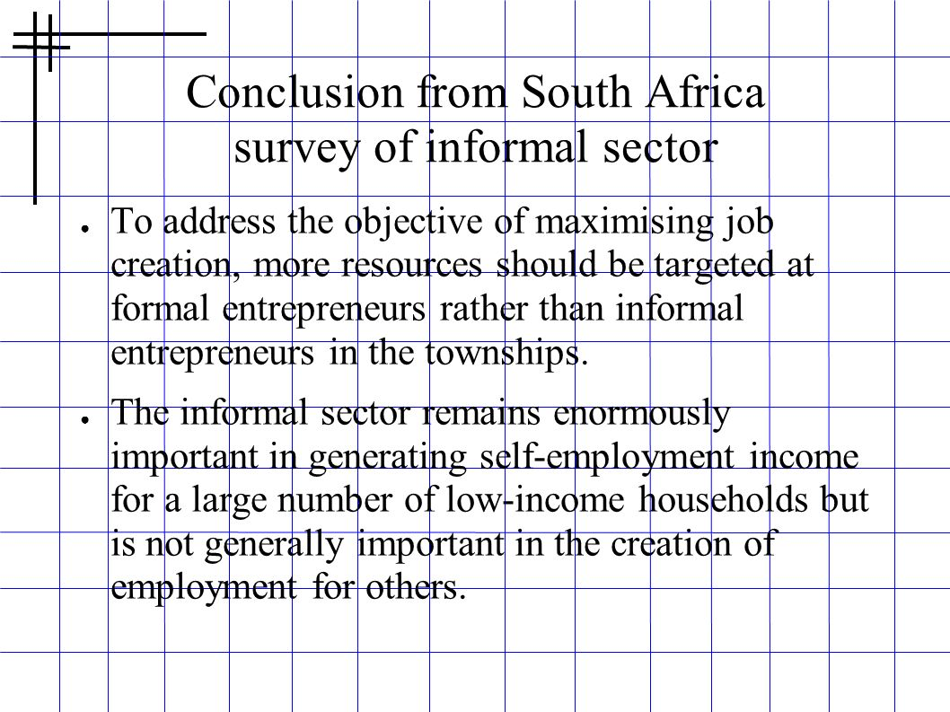 Conclusion from South Africa survey of informal sector