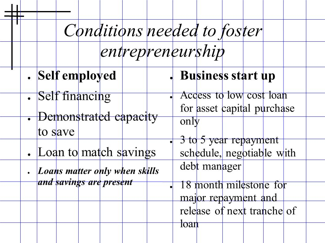 Conditions needed to foster entrepreneurship