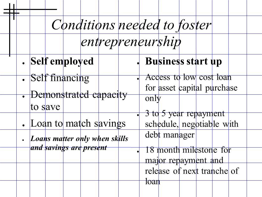 Conditions needed to foster entrepreneurship