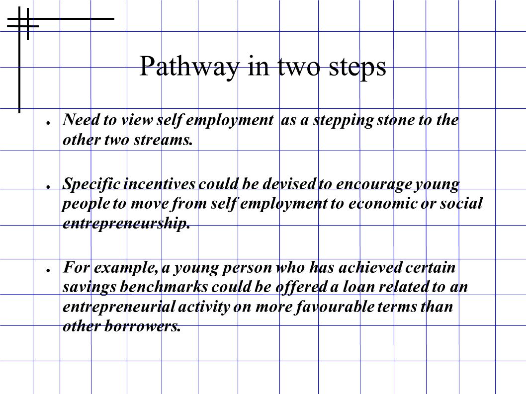 Pathway in two steps Need to view self employment as a stepping stone to the other two streams.