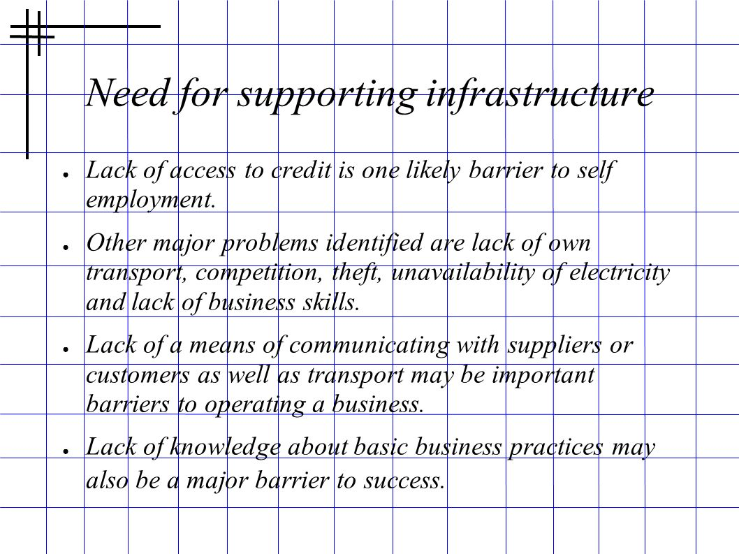 Need for supporting infrastructure