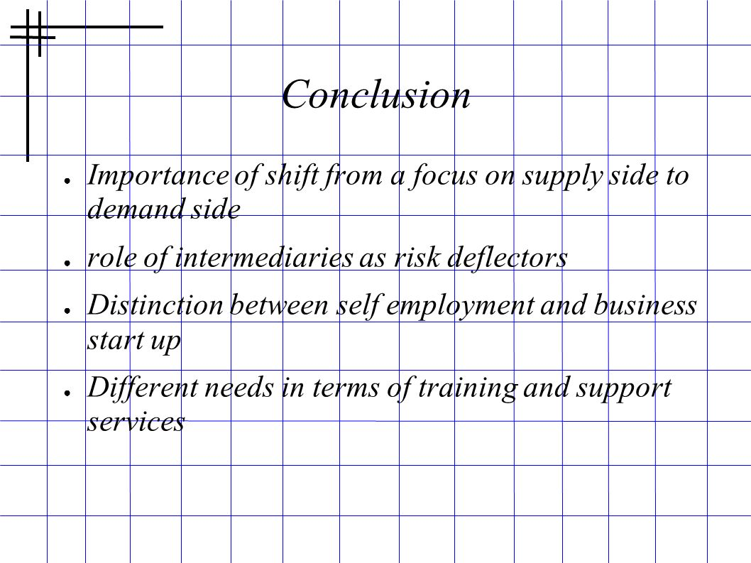 Conclusion Importance of shift from a focus on supply side to demand side. role of intermediaries as risk deflectors.
