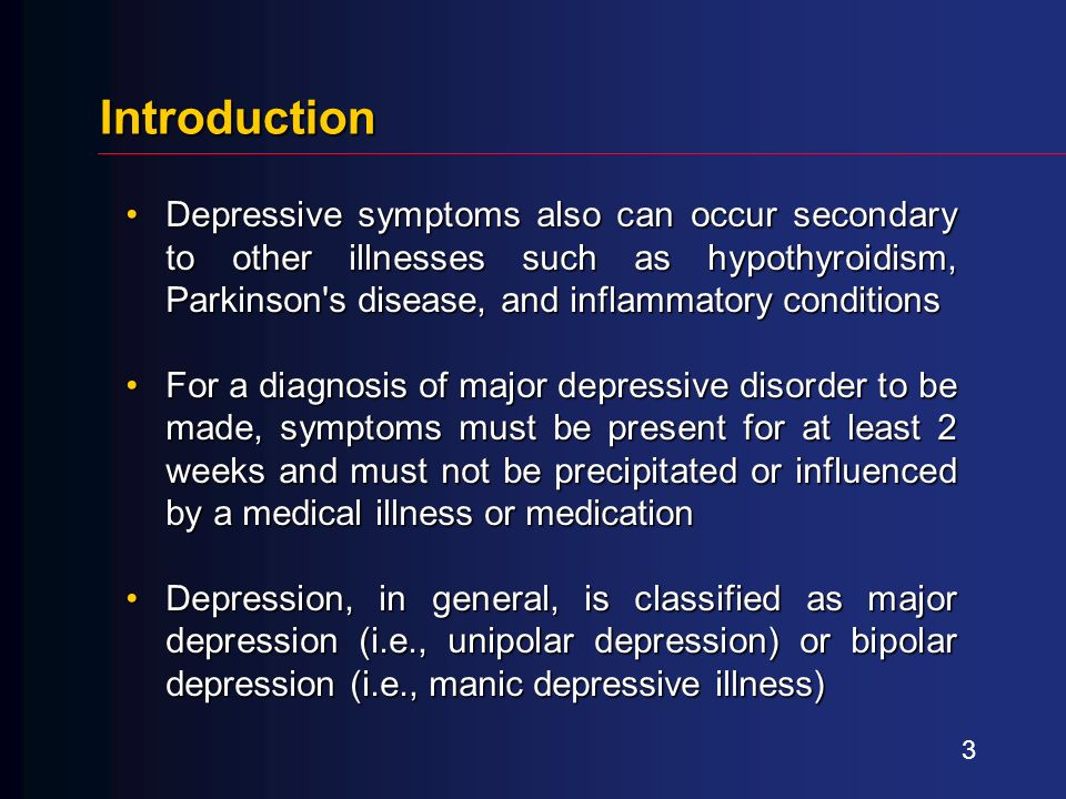 an introduction to the major depressive disorder Among these disorders is major depressive disorder, which is the focus of this article other major mood disorders described by the dsm are dysthymic disorders, which represent a low-grade depressive state that lasts for at least a two-year period.