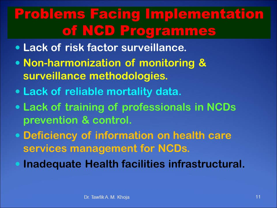 Problems Facing Implementation of NCD Programmes