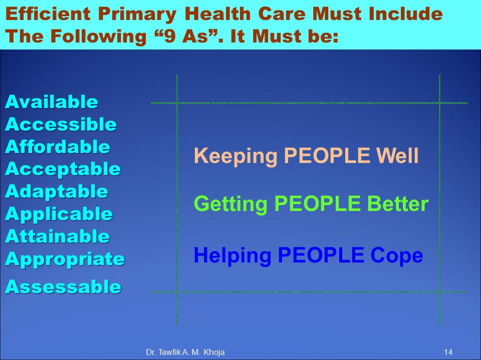 Keeping PEOPLE Well Getting PEOPLE Better Helping PEOPLE Cope