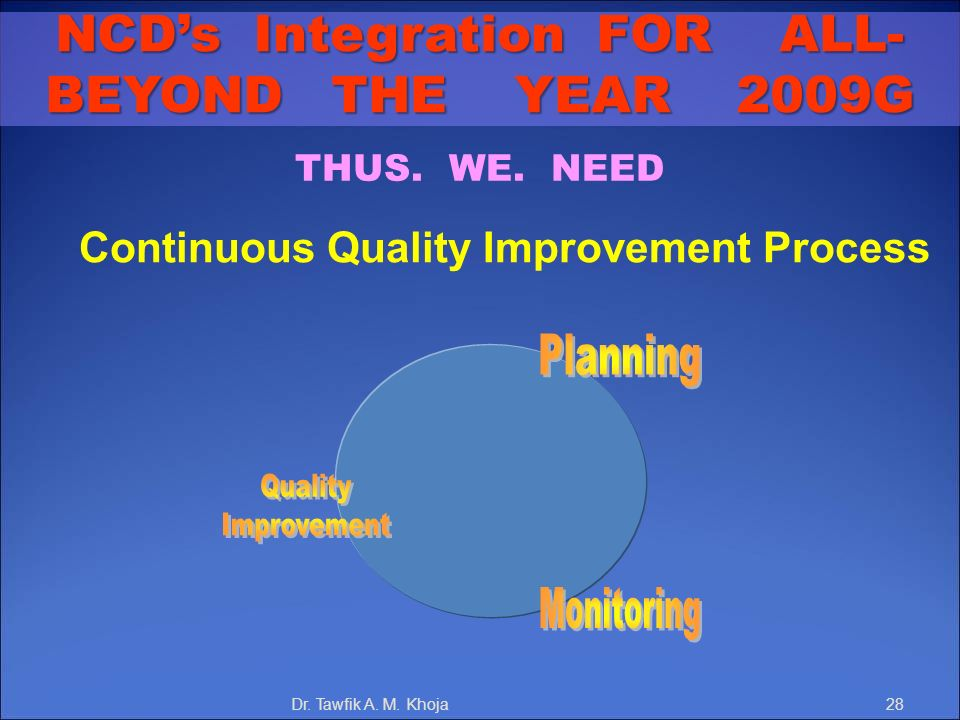 NCD's Integration FOR ALL- Continuous Quality Improvement Process