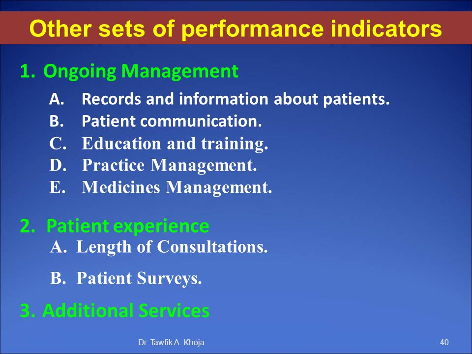 Other sets of performance indicators