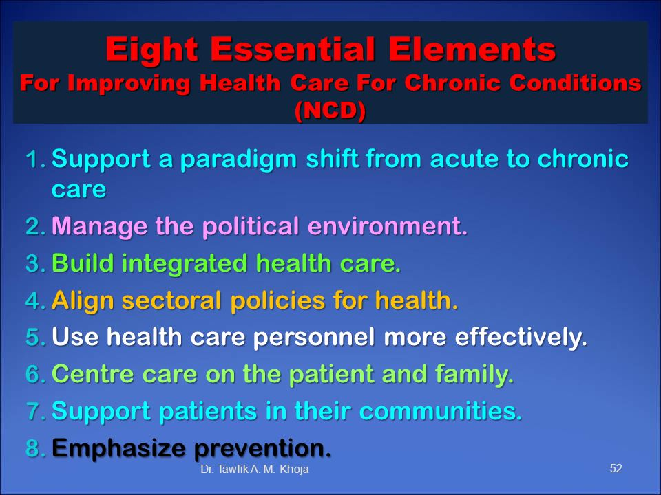 Eight Essential Elements For Improving Health Care For Chronic Conditions (NCD)