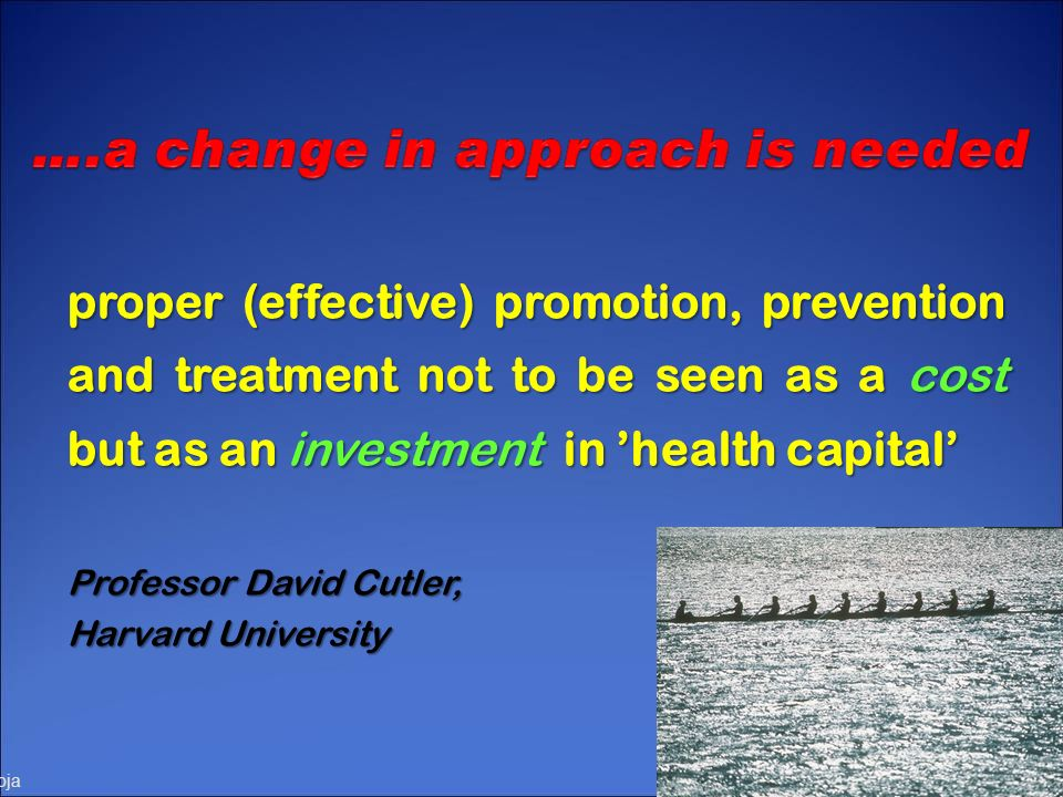 proper (effective) promotion, prevention and treatment not to be seen as a cost but as an investment in 'health capital'