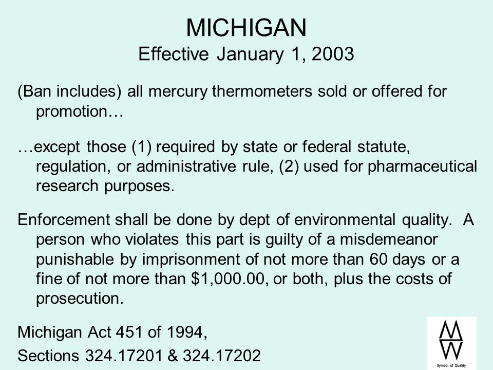MICHIGAN Effective January 1, 2003